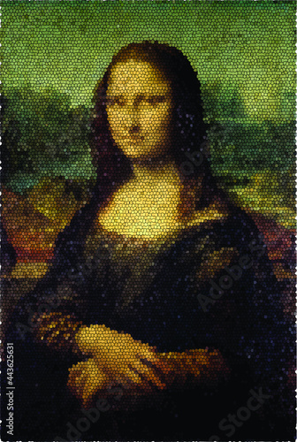 Fotografie, Tablou 'mona lisa' painting with stained glass effect