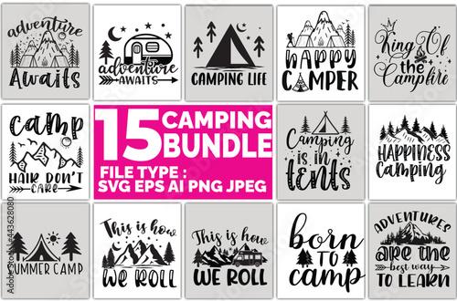 Canvas camping bundle t shirt design.