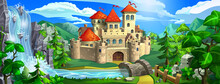 Medieval Fairytale Castle With Red Roofs, Stone Walls And Towers. The Castle Stands Among Green Hills, Mountains, Near A River And A Waterfall.