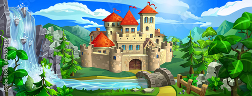 Fotografiet Medieval fairytale castle with red roofs, stone walls and towers