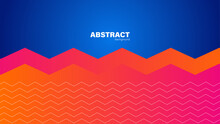 Abstract Blue Background And Red Zigzag Shape, Background With Copy Space For Design, Vector.