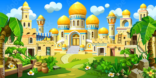An ancient Arab town in the desert, with stone houses. A palace with towers, golden domes and tents. Temples, mosques, houses with oriental decorations among tropical plants.