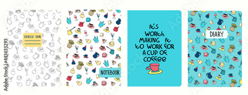 Fotografie, Obraz Set of cover page templates with coffee cups, pots, cakes, pastry and funny phrase