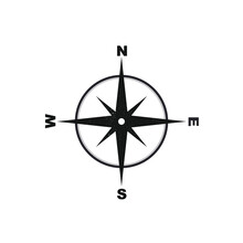 Vector Compass Rose With North, South, East And West Indicate