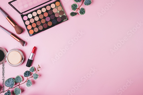 Fotografie, Obraz Set of cosmetic makeup tool isolated on pink background, top view, flat lay, brush and lipstick and makeup palette kit, no people, nobody, copy space, group object about beauty, collection make-up