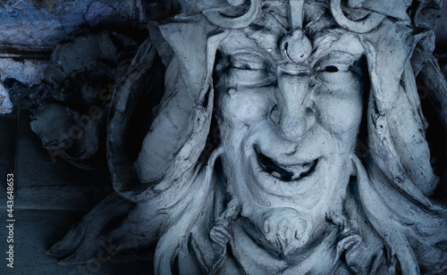 Stampa su Tela Monster face of aGreek antique god daimon of eager rivalry, envy, jealousy, and zeal Zelus (Zelos)