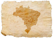Map Of Brazil On Old Grunge Brown Paper