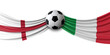 Leinwandbild Motiv England Vs. Italy soccer match. National flags with football. 3D Rendering