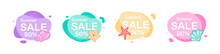 Minimal Modern Graphic Elements With Seashells. Sea Label Graphic Elements. Vector Template For The Design For Summer Sale Banner, Poster, Label, Web Ad. Cloud Shapes With Sea Shells And Starfish.