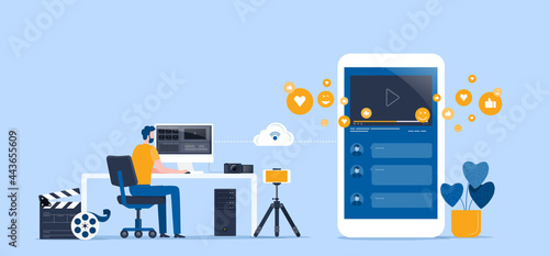 Fotografie, Tablou flat vector illustration video editor team working and making a video clip for o