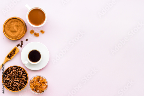 Fototapeta Coffee chocolate and cocoa set - beans with powder and hot drink, top view