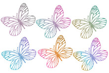 Butterflies Outlines Silhouette Glitter Textured. Clip Art Set Isolated On White