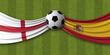 England Vs. Spain soccer match. National flags with football. 3D Rendering