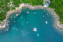 Hin Wong Bay, Koh Tao Island Ko Tao Island Thailand Drone Aerial Shot With Copy Space Blue Green Turquoise Landscape