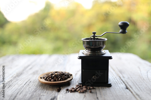 Fotografija Roasted coffee bean with small vintage grinder