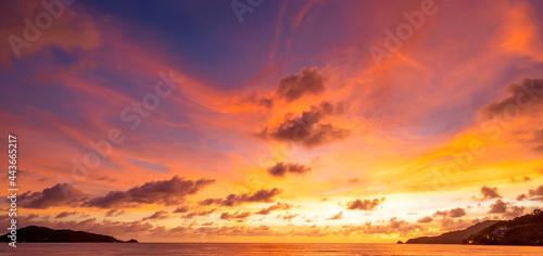 Fotografie, Obraz Majestic sunset or sunrise landscape Amazing light of nature cloudscape sky and