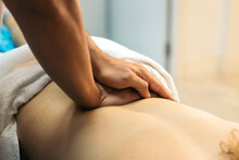 Physiotherapist Man Treating Woman Patient