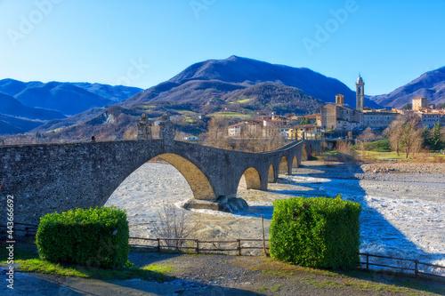 """Italy, Bobbio, """"Old"""" Bridge"""" or """"Gobbo Bridge"""" also """"Devil Bridge""""o, Piacenza province, Trebbia Valley, Emilia Romagna"""
