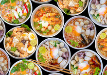 Top View Noodle Soups Or Tom Yum Is Delicious , Hot And Spicy Fast Food On Black Background.