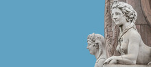 Banner With Two Statues Of Beautiful Egyptian Sphinx At Obelisk In Historical Downtown Of Potsdam, Germany, With Copy Space And Blue Sky Solid Background.