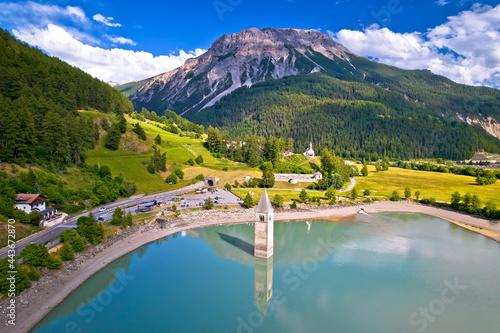 Fotografia, Obraz Submerged bell Tower of Curon at Graun im Vinschgau on Lake Reschen Alpine lands