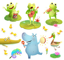 Funny Pond Or Swamp Animals Clipart Collection Isolated On White. Frogs Playing Music, Duck With Chicks And Dancing Hippo Play Tambourine. Funny Cartoons Set For Kids.