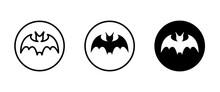 Bat Icon Vector, Sign, Symbol, Logo, Illustration, Editable Stroke, Flat Design Style Isolated On White Linear Pictogram