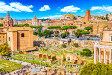 Panoramic Cityscape View Of The Roman Forum In Rome, Italy. World Famous Landmarks In Italy During Summer Sunny Day
