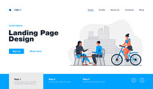 Happy Women Sitting In Street Cafe And Cyclist Riding Near Them. Coffee, Bicycle, Girl Flat Vector Illustration. Summertime And Urban Lifestyle Concept For Banner, Website Design Or Landing Web Page
