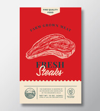 Farm Grown Meat Abstract Vector Packaging Design Or Label. Modern Typography Banner, Hand Drawn Beef Steak Sketch Silhouette. Color Paper Background Layout. Isolated