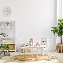 Blank Wall Mockup In Children Room Interior Background, 3D Render
