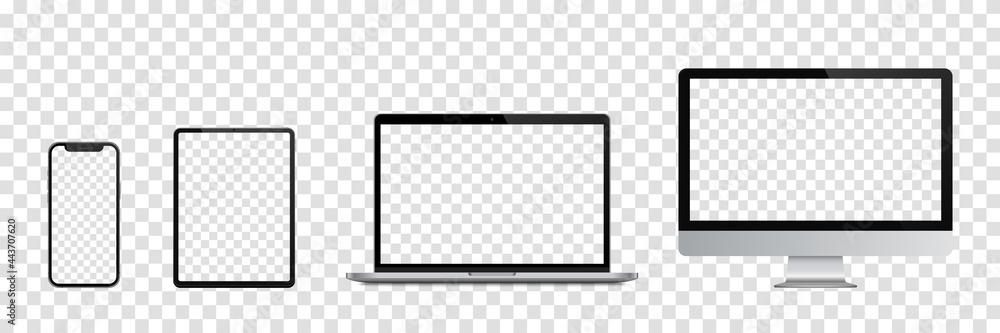 Obraz Realistic set of Monitor, laptop, tablet, smartphone. Vector illustration fototapeta, plakat