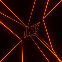 Render With Glowing Orange Neon Lines On Black Background