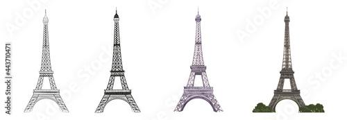 Fényképezés Set of differents Eiffel tower on white background