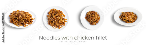 Valokuva Noodles with chicken fillet on a white plate isolated.