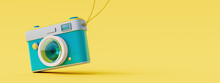 Blue Retro Camera On Yellow Background. Summer Travel Concept. 3D Rendering, 3D Illustration