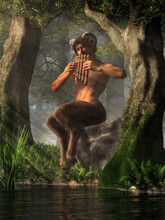 Pan, The God Of The Wilderness, Nature, And Shepherds From Greek Mythology, In The Form Of A Saytr Or Faun With Goat Legs And Horns, Plays His Pipes By A Pond In A Deep Green Forest. 3D Rendering.