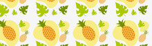 Seamless Pattern, Realistic Ripe Pineapples And Leaves - Vector