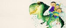 Jurassic Park. Watercolor Backgrond For Children.