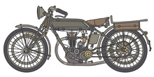 The Hand Drawing Of A Vintage Khaki Green Military Motorcycle