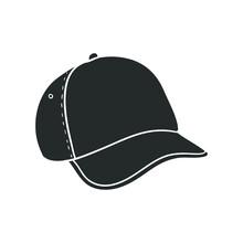 Sport Cap Icon Silhouette Illustration. Baseball Hat Vector Graphic Pictogram Symbol Clip Art. Doodle Sketch Black Sign.