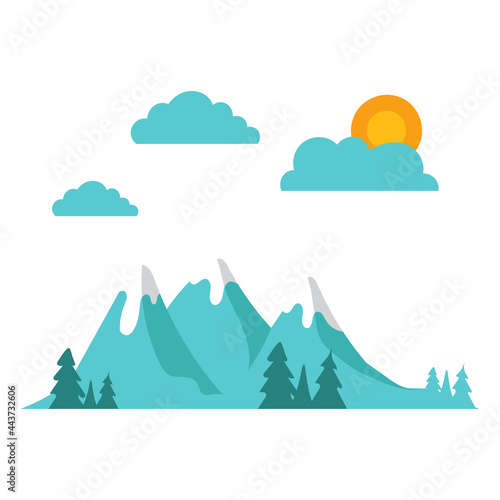Canvas Print Simple Mountain with cloud, sun and trees illustration, Vector Landscape flat de