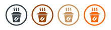 Hot Coffee In Paper Cup Icons Set. Take Away Concept.