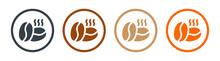 Hot Coffee Bean Icon Vector Set.
