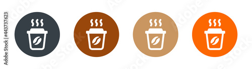 Fotografie, Obraz Paper coffee cup with coffee gain icon. Hot drink concept