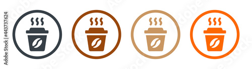Photo Hot coffee in paper cup icons set. Take away concept.