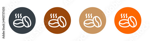 Photo Roasted coffee beans icon set. Aroma of arabica vector symbol