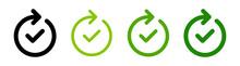 Complete Process Icon Set. Vector Illustration. Done And Success Symbol With Checkmark.