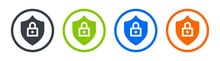 Protection, Lock, Privacy And Security Icon Sign. Containing Shield And Padlock Symbol.