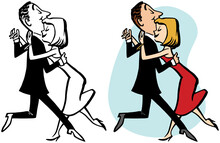 A Vintage Retro Cartoon Of A Couple Performing A Slow Dance.